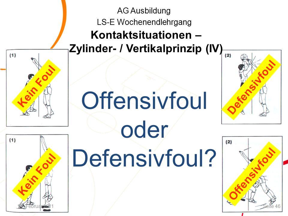 AG Ausbildung LS-E Wochenendlehrgang Defensivfoul Offensivfoul Kein Foul Offensivfoul oder Defensivfoul.