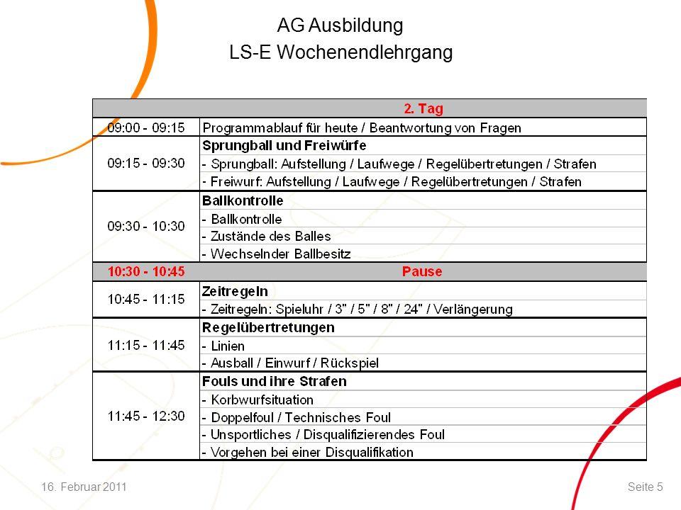 AG Ausbildung LS-E Wochenendlehrgang Fouls / Strafen (IV) Unsportliches Foul / Disqualifizierendes Foul: Der gefoulte Spieler erhält 2 bzw.