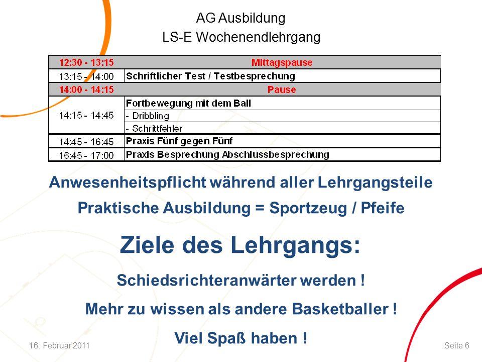 AG Ausbildung LS-E Wochenendlehrgang Zeitregeln