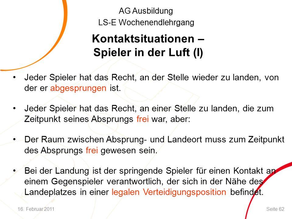 AG Ausbildung LS-E Wochenendlehrgang Kontaktsituationen – Spieler in der Luft (I) Jeder Spieler hat das Recht, an der Stelle wieder zu landen, von der er abgesprungen ist.
