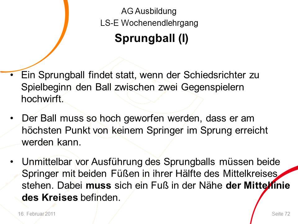 AG Ausbildung LS-E Wochenendlehrgang Sprungball (I) Ein Sprungball findet statt, wenn der Schiedsrichter zu Spielbeginn den Ball zwischen zwei Gegenspielern hochwirft.