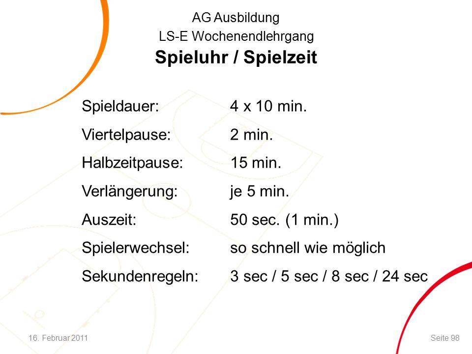 AG Ausbildung LS-E Wochenendlehrgang Spieluhr / Spielzeit Spieldauer:4 x 10 min.