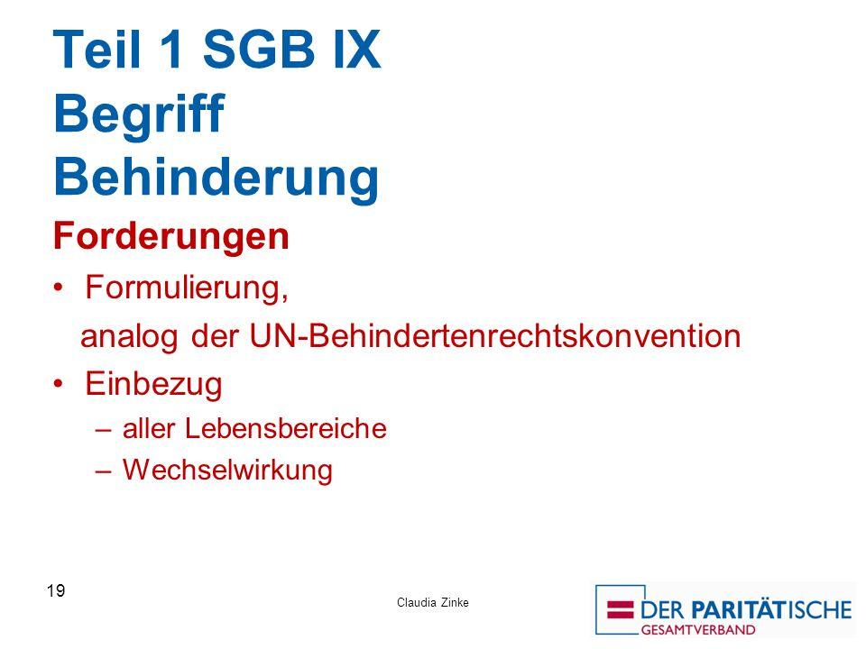 Teil 1 SGB IX Begriff Behinderung Forderungen Formulierung, analog der UN-Behindertenrechtskonvention Einbezug –aller Lebensbereiche –Wechselwirkung Claudia Zinke 19