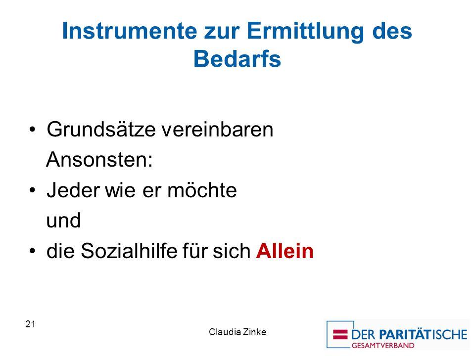 Instrumente zur Ermittlung des Bedarfs Grundsätze vereinbaren Ansonsten: Jeder wie er möchte und die Sozialhilfe für sich Allein Claudia Zinke 21