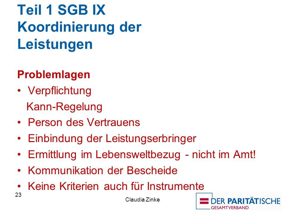Teil 1 SGB IX Koordinierung der Leistungen Problemlagen Verpflichtung Kann-Regelung Person des Vertrauens Einbindung der Leistungserbringer Ermittlung im Lebensweltbezug - nicht im Amt.