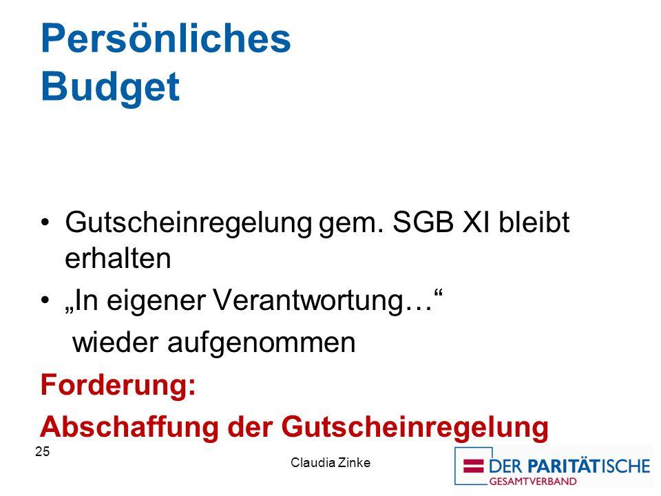 Persönliches Budget Gutscheinregelung gem.