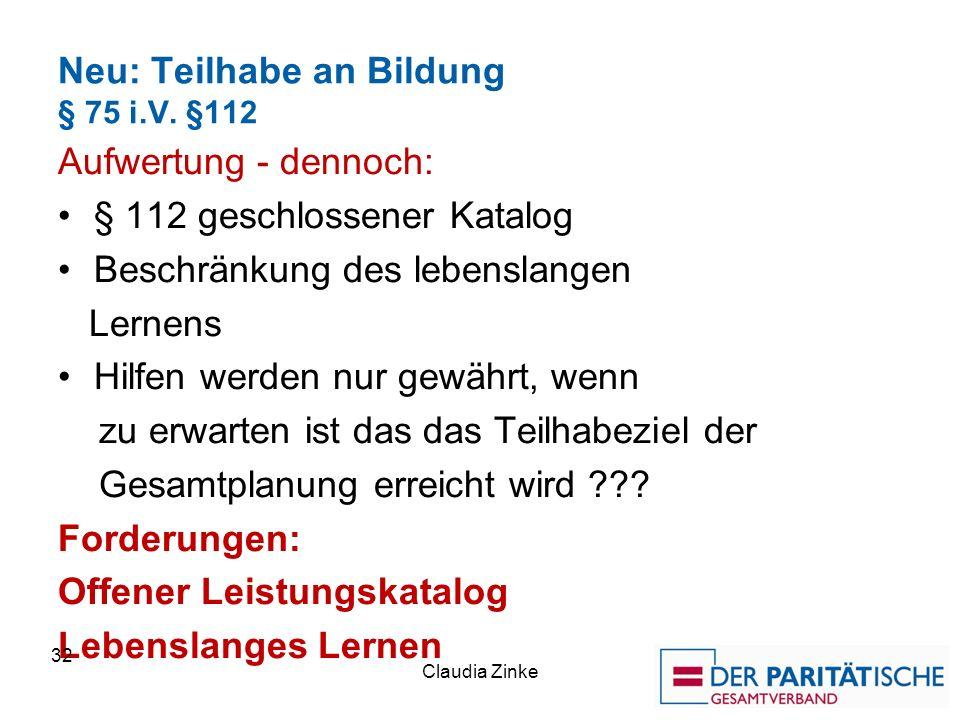 Neu: Teilhabe an Bildung § 75 i.V.