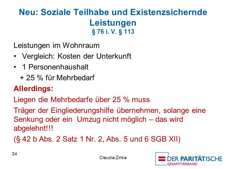 Neu: Soziale Teilhabe und Existenzsichernde Leistungen § 76 i.