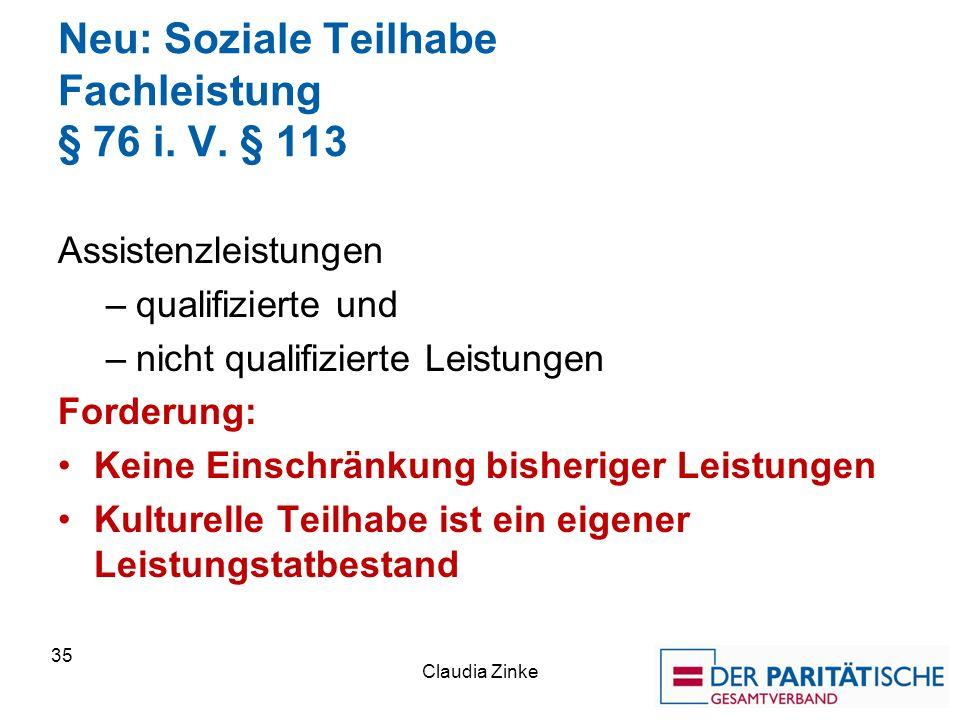 Neu: Soziale Teilhabe Fachleistung § 76 i. V.