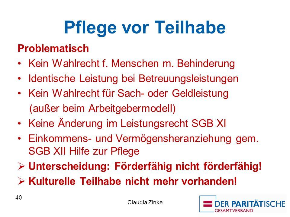 Pflege vor Teilhabe Problematisch Kein Wahlrecht f.