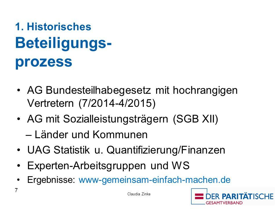 1. Historisches Beteiligungs- prozess AG Bundesteilhabegesetz mit hochrangigen Vertretern (7/2014-4/2015) AG mit Sozialleistungsträgern (SGB XII) – Lä