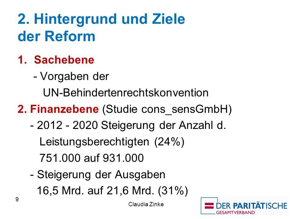 2. Hintergrund und Ziele der Reform 1.Sachebene - Vorgaben der UN-Behindertenrechtskonvention 2.