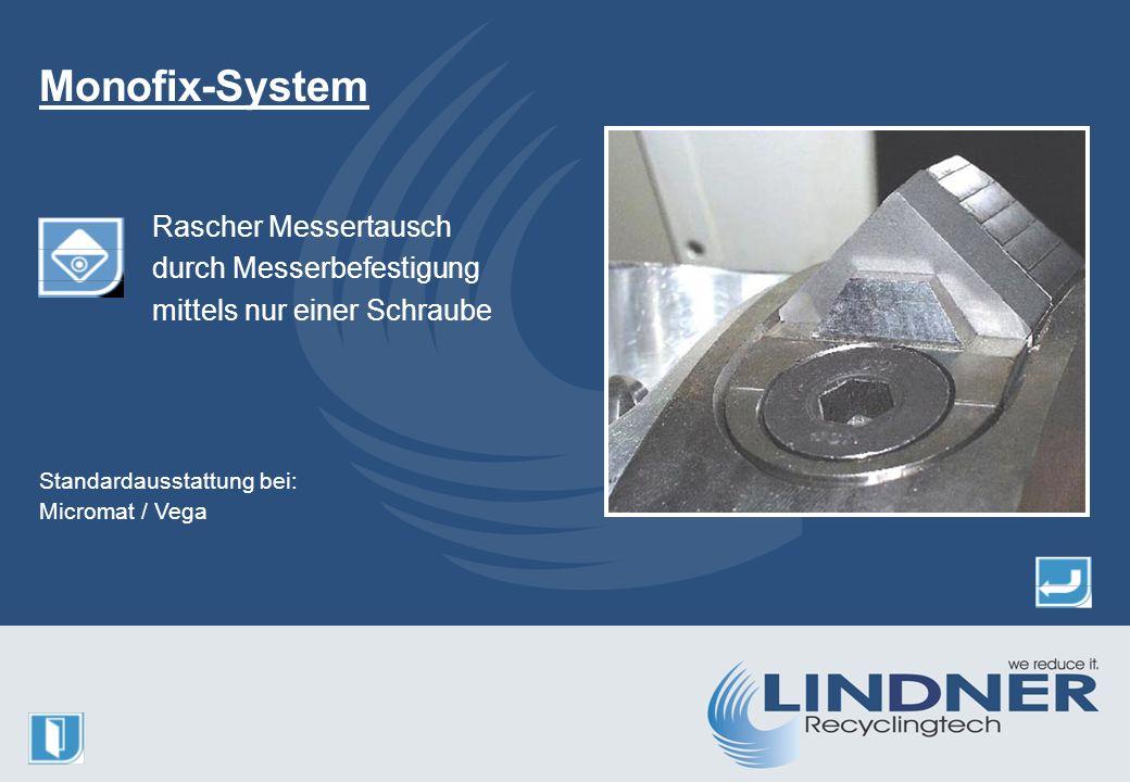 Rascher Messertausch durch Messerbefestigung mittels nur einer Schraube Monofix-System Standardausstattung bei: Micromat / Vega