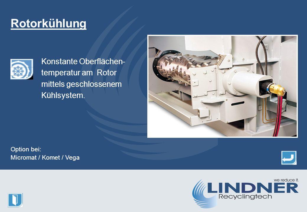 Konstante Oberflächen- temperatur am Rotor mittels geschlossenem Kühlsystem.