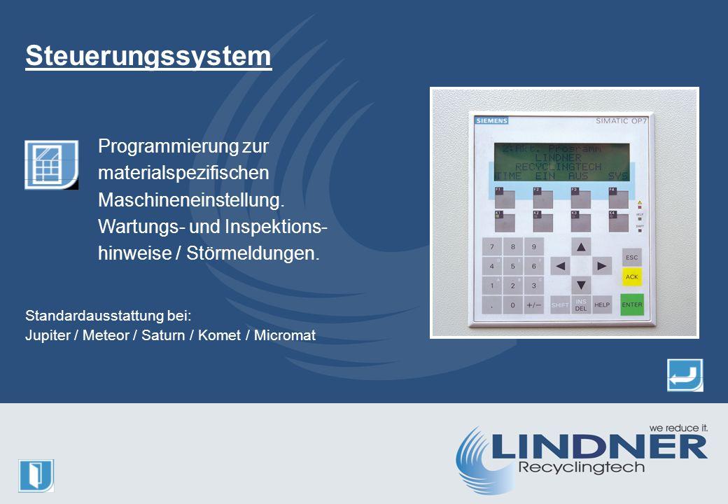 Programmierung zur materialspezifischen Maschineneinstellung.