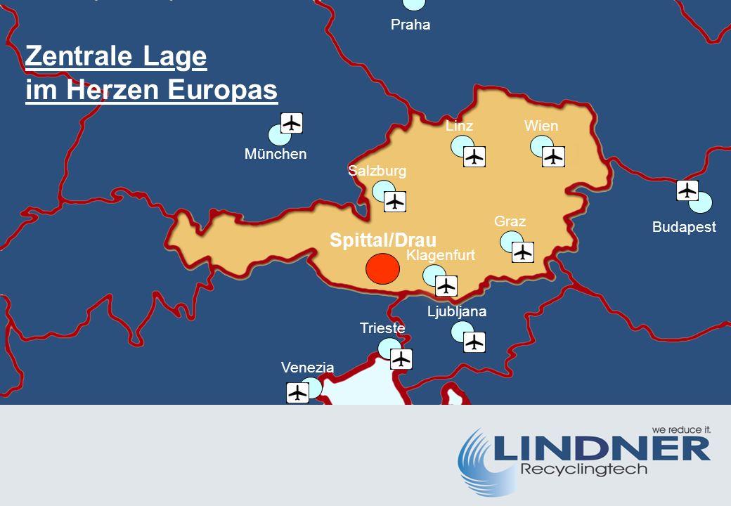 Spittal/Drau Wien München Ljubljana Salzburg Trieste Venezia Budapest Praha Linz Graz Zentrale Lage im Herzen Europas Klagenfurt