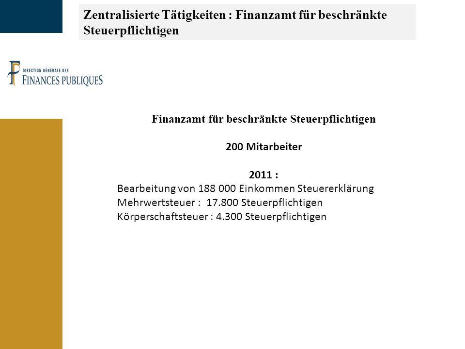 Zentralisierte Tätigkeiten : Finanzamt für beschränkte Steuerpflichtigen Finanzamt für beschränkte Steuerpflichtigen 200 Mitarbeiter 2011 : Bearbeitung von 188 000 Einkommen Steuererklärung Mehrwertsteuer : 17.800 Steuerpflichtigen Körperschaftsteuer : 4.300 Steuerpflichtigen