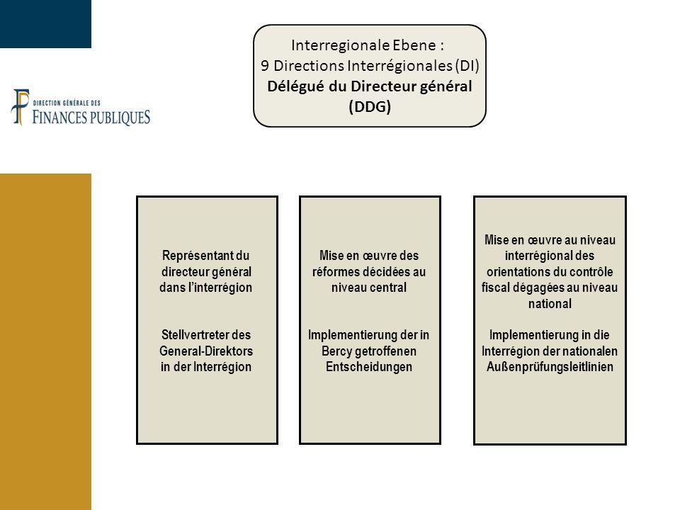 Interregionale Ebene : 9 Directions Interrégionales (DI) Délégué du Directeur général (DDG) Représentant du directeur général dans l'interrégion Stellvertreter des General-Direktors in der Interrégion Mise en œuvre des réformes décidées au niveau central Implementierung der in Bercy getroffenen Entscheidungen Mise en œuvre au niveau interrégional des orientations du contrôle fiscal dégagées au niveau national Implementierung in die Interrégion der nationalen Außenprüfungsleitlinien