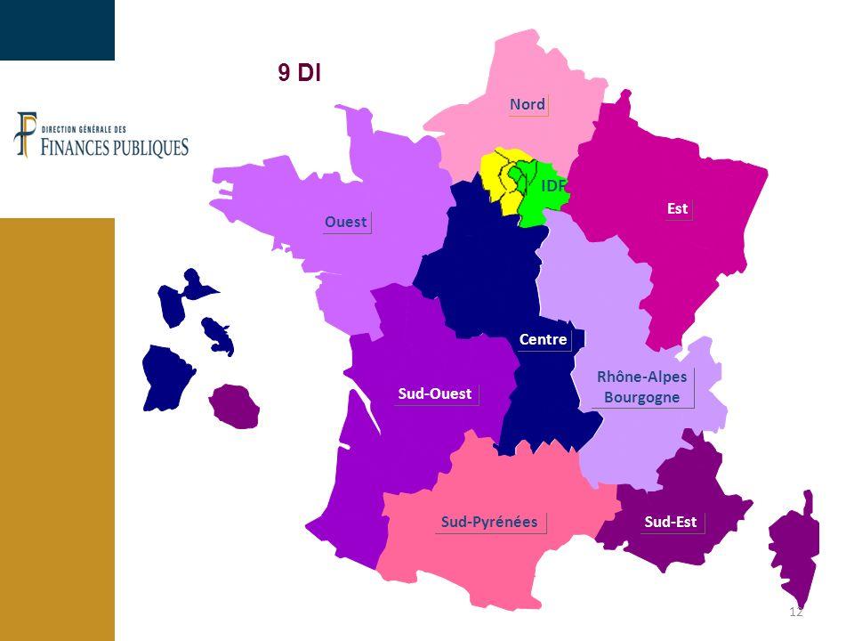 Ouest Nord Est Rhône-Alpes Bourgogne Sud-Est Sud-Pyrénées Sud-Ouest Centre IDF 9 DI 12