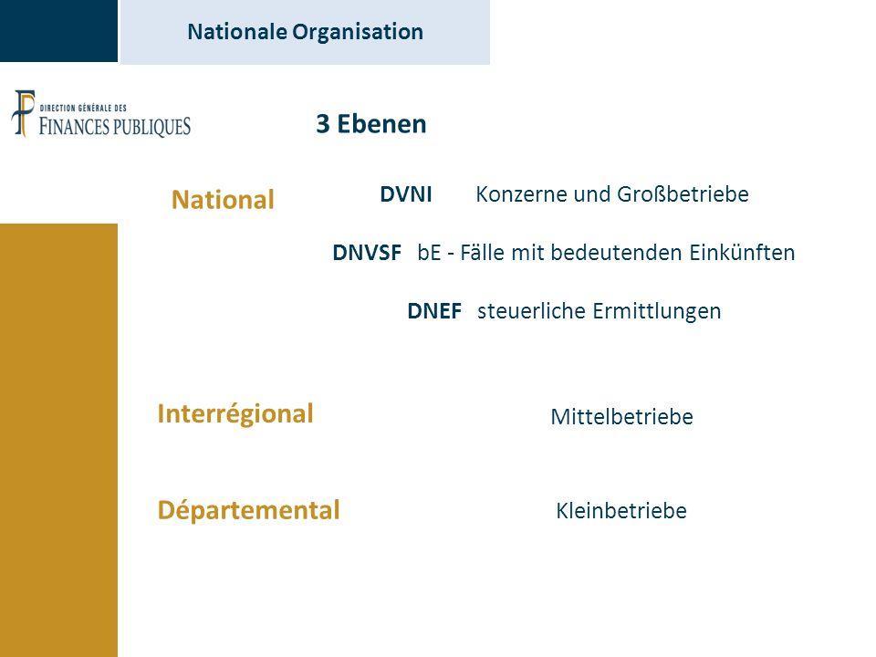 Nationale Organisation 3 Ebenen National Interrégional Départemental Mittelbetriebe Kleinbetriebe DVNI Konzerne und Großbetriebe DNVSF bE - Fälle mit bedeutenden Einkünften DNEF steuerliche Ermittlungen
