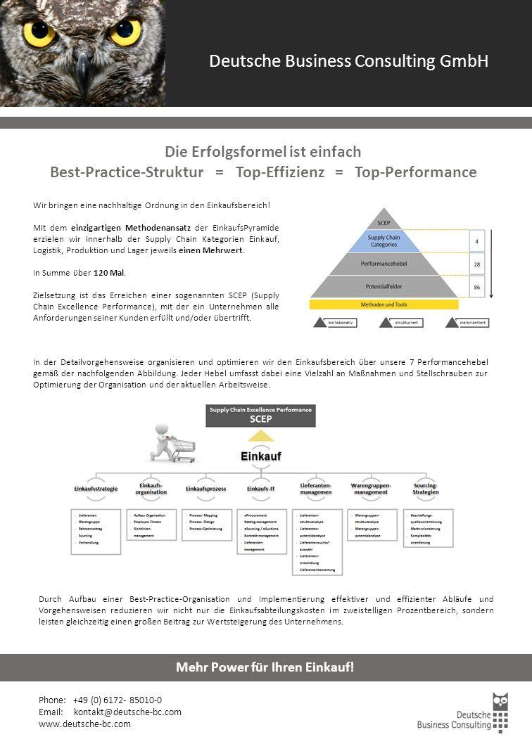 Einkaufsoptimierung Beteiligungsunternehmen Phone: +49 (0) 6172- 85010-0 Email: kontakt@deutsche-bc.com www.deutsche-bc.com Mehr Power für Ihren Einkauf.