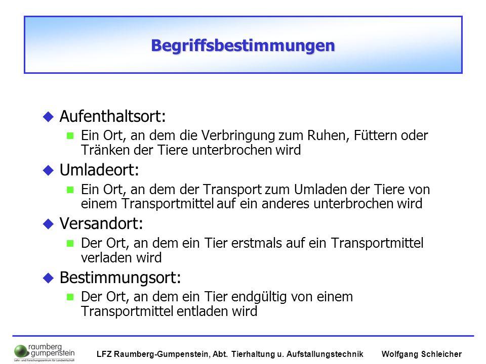 Wolfgang SchleicherLFZ Raumberg-Gumpenstein, Abt. Tierhaltung u. Aufstallungstechnik Begriffsbestimmungen  Aufenthaltsort: Ein Ort, an dem die Verbri