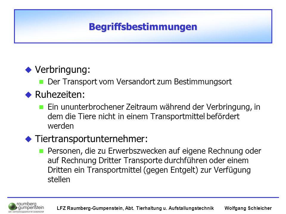 Wolfgang SchleicherLFZ Raumberg-Gumpenstein, Abt. Tierhaltung u. Aufstallungstechnik Begriffsbestimmungen  Verbringung: Der Transport vom Versandort