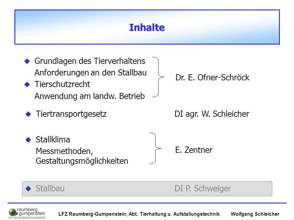 Wolfgang SchleicherLFZ Raumberg-Gumpenstein, Abt. Tierhaltung u. Aufstallungstechnik Inhalte   TiertransportgesetzDI agr. W. Schleicher   Stallbau