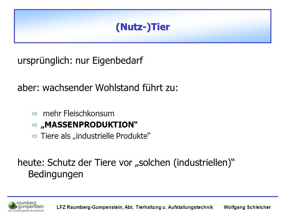 Wolfgang SchleicherLFZ Raumberg-Gumpenstein, Abt. Tierhaltung u. Aufstallungstechnik (Nutz-)Tier (Nutz-)Tier ursprünglich: nur Eigenbedarf aber: wachs