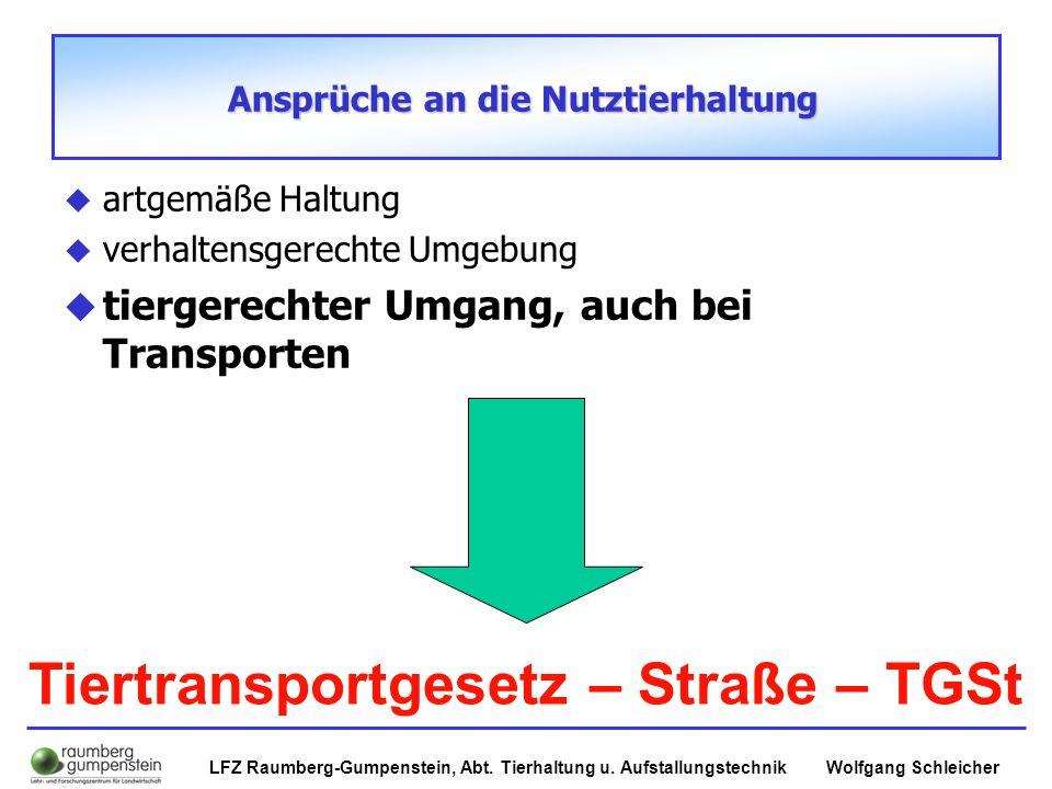 Wolfgang SchleicherLFZ Raumberg-Gumpenstein, Abt. Tierhaltung u. Aufstallungstechnik Ansprüche an die Nutztierhaltung  artgemäße Haltung  verhaltens
