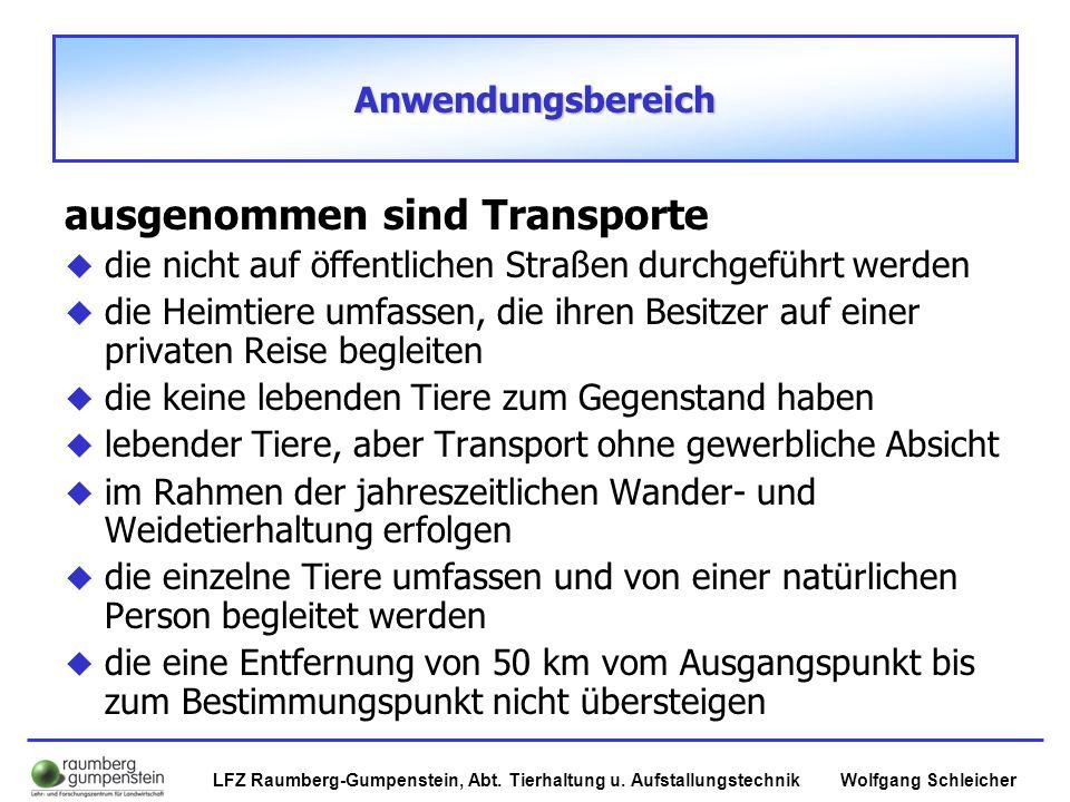 Wolfgang SchleicherLFZ Raumberg-Gumpenstein, Abt. Tierhaltung u. Aufstallungstechnik Anwendungsbereich ausgenommen sind Transporte  die nicht auf öff