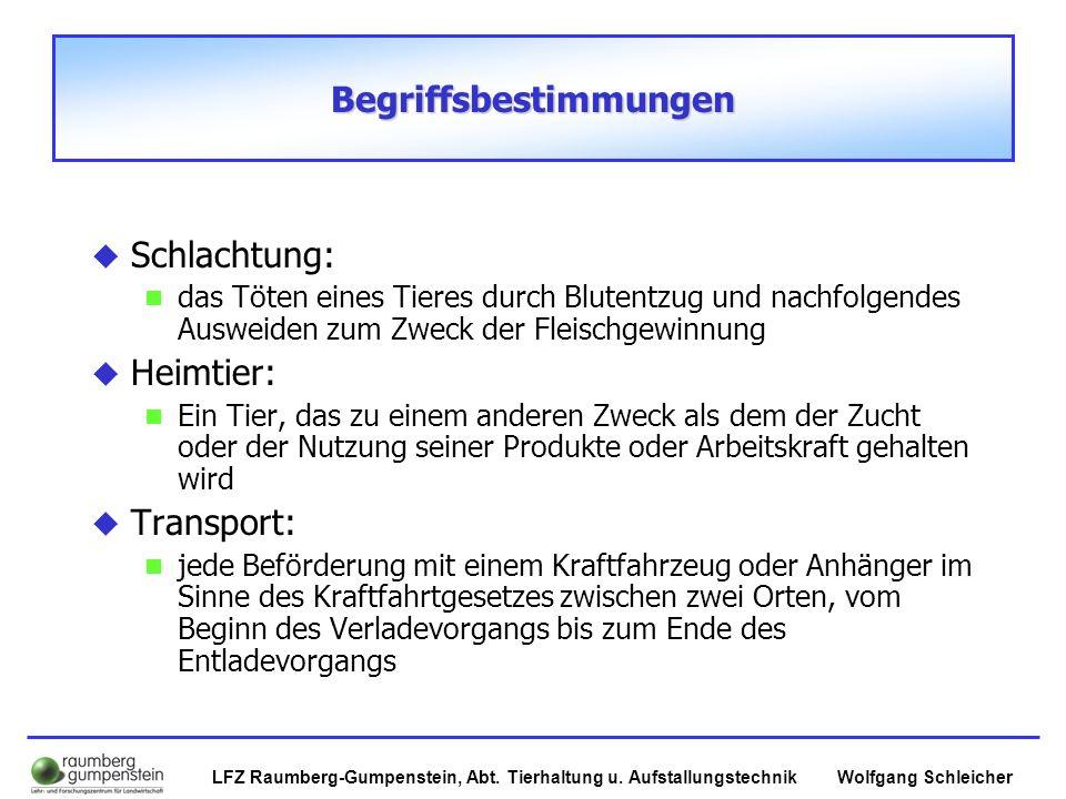 Wolfgang SchleicherLFZ Raumberg-Gumpenstein, Abt. Tierhaltung u. Aufstallungstechnik Begriffsbestimmungen  Schlachtung: das Töten eines Tieres durch