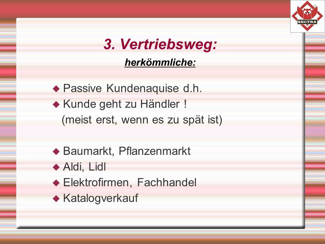 3. Vertriebsweg: herkömmliche:  Passive Kundenaquise d.h.