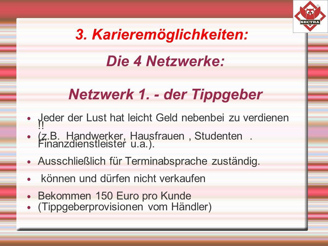 3. Karieremöglichkeiten: Die 4 Netzwerke: Netzwerk 1.