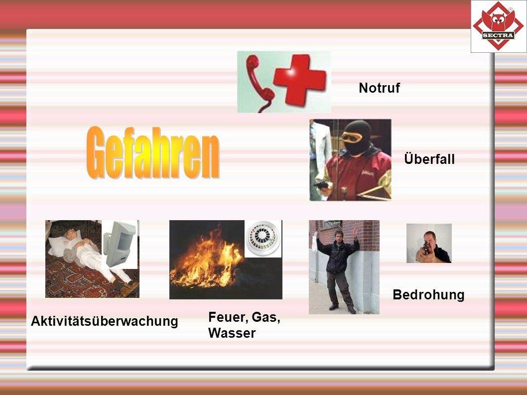 Notruf Überfall Bedrohung Feuer, Gas, Wasser Aktivitätsüberwachung
