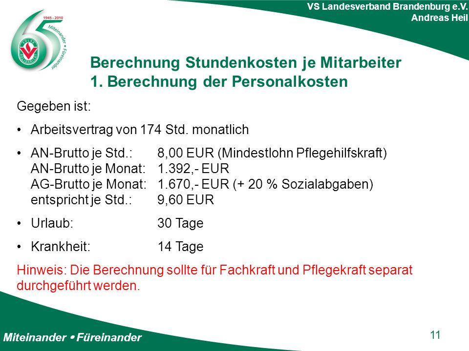 Miteinander  Füreinander VS Landesverband Brandenburg e.V. Andreas Heil Berechnung Stundenkosten je Mitarbeiter 1. Berechnung der Personalkosten Gege