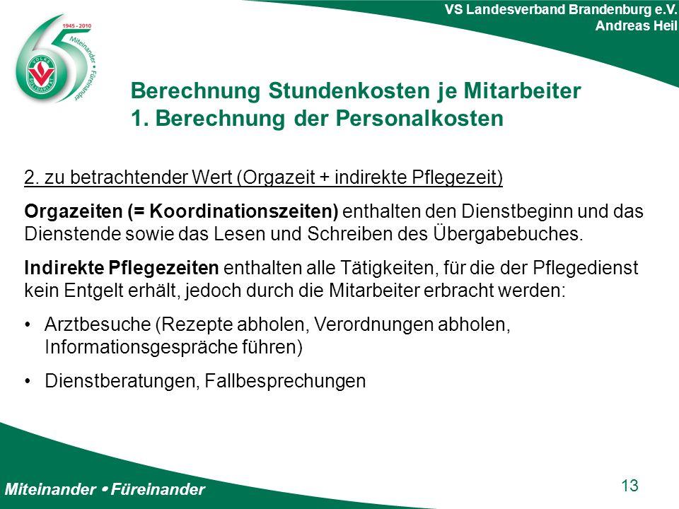 Miteinander  Füreinander VS Landesverband Brandenburg e.V. Andreas Heil Berechnung Stundenkosten je Mitarbeiter 1. Berechnung der Personalkosten 2. z