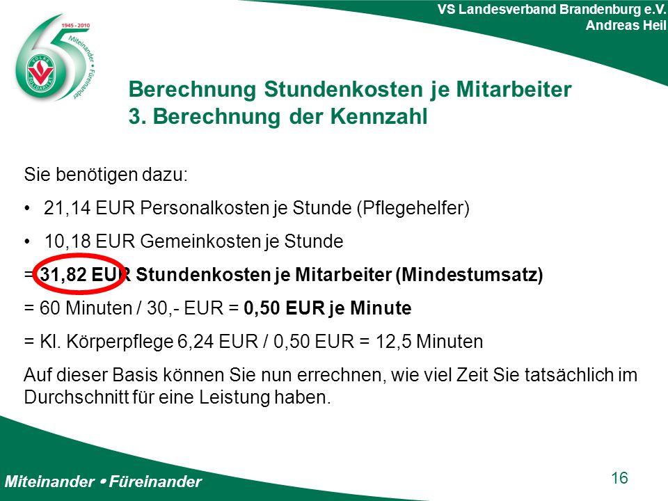 Miteinander  Füreinander VS Landesverband Brandenburg e.V. Andreas Heil Berechnung Stundenkosten je Mitarbeiter 3. Berechnung der Kennzahl Sie benöti