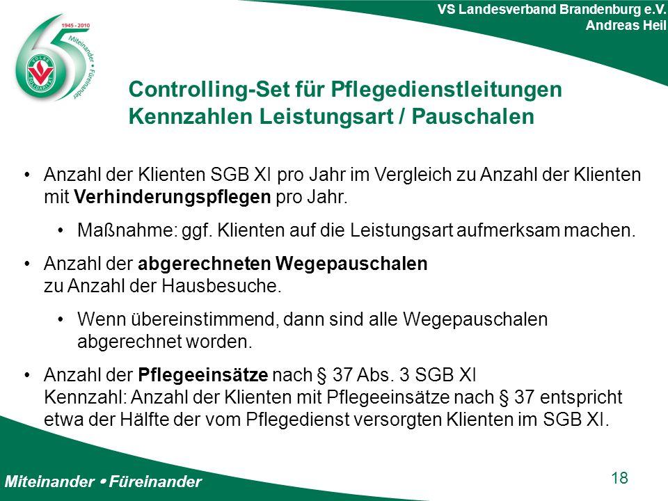 Miteinander  Füreinander VS Landesverband Brandenburg e.V. Andreas Heil Controlling-Set für Pflegedienstleitungen Kennzahlen Leistungsart / Pauschale