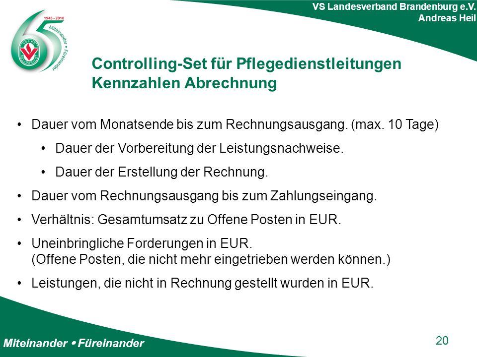 Miteinander  Füreinander VS Landesverband Brandenburg e.V. Andreas Heil Controlling-Set für Pflegedienstleitungen Kennzahlen Abrechnung Dauer vom Mon