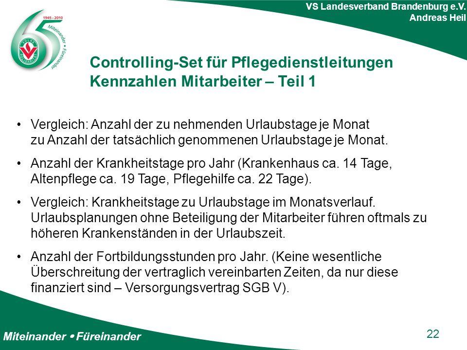 Miteinander  Füreinander VS Landesverband Brandenburg e.V. Andreas Heil Controlling-Set für Pflegedienstleitungen Kennzahlen Mitarbeiter – Teil 1 Ver