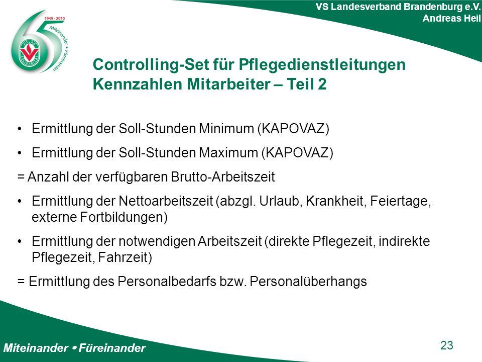 Miteinander  Füreinander VS Landesverband Brandenburg e.V. Andreas Heil Controlling-Set für Pflegedienstleitungen Kennzahlen Mitarbeiter – Teil 2 Erm
