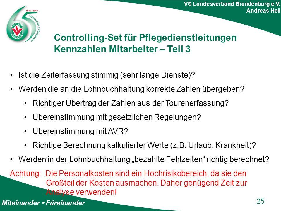 Miteinander  Füreinander VS Landesverband Brandenburg e.V. Andreas Heil Controlling-Set für Pflegedienstleitungen Kennzahlen Mitarbeiter – Teil 3 Ist
