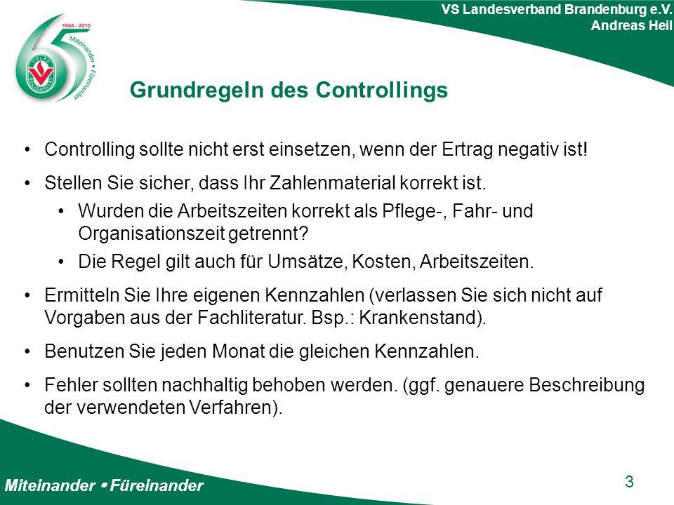 Miteinander  Füreinander VS Landesverband Brandenburg e.V. Andreas Heil Grundregeln des Controllings Controlling sollte nicht erst einsetzen, wenn de