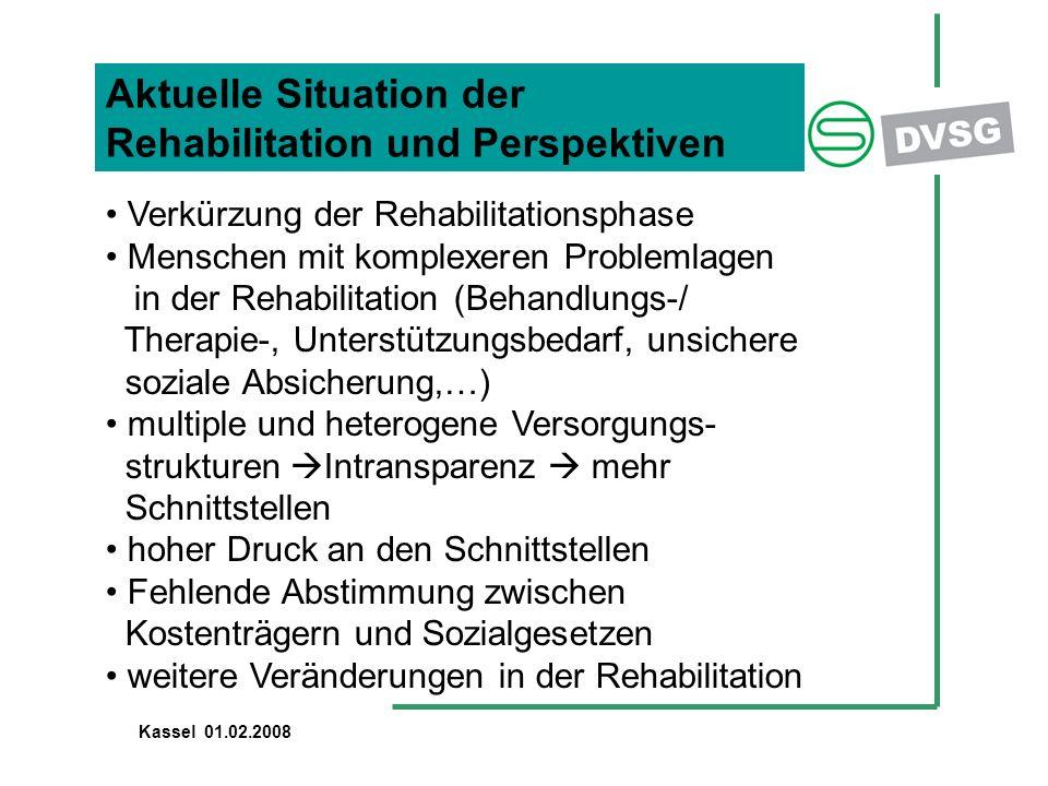 Aktuelle Situation der Rehabilitation und Perspektiven Verkürzung der Rehabilitationsphase Menschen mit komplexeren Problemlagen in der Rehabilitation