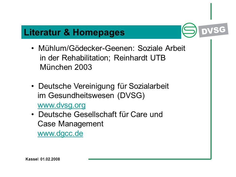 Literatur & Homepages Mühlum/Gödecker-Geenen: Soziale Arbeit in der Rehabilitation; Reinhardt UTB München 2003 Deutsche Vereinigung für Sozialarbeit i