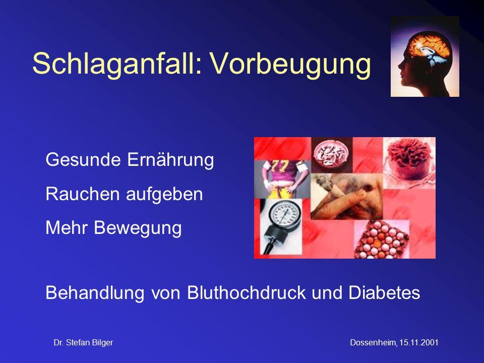 Dr. Stefan BilgerDossenheim, 15.11.2001 Schlaganfall: Vorbeugung Gesunde Ernährung Rauchen aufgeben Mehr Bewegung Behandlung von Bluthochdruck und Dia