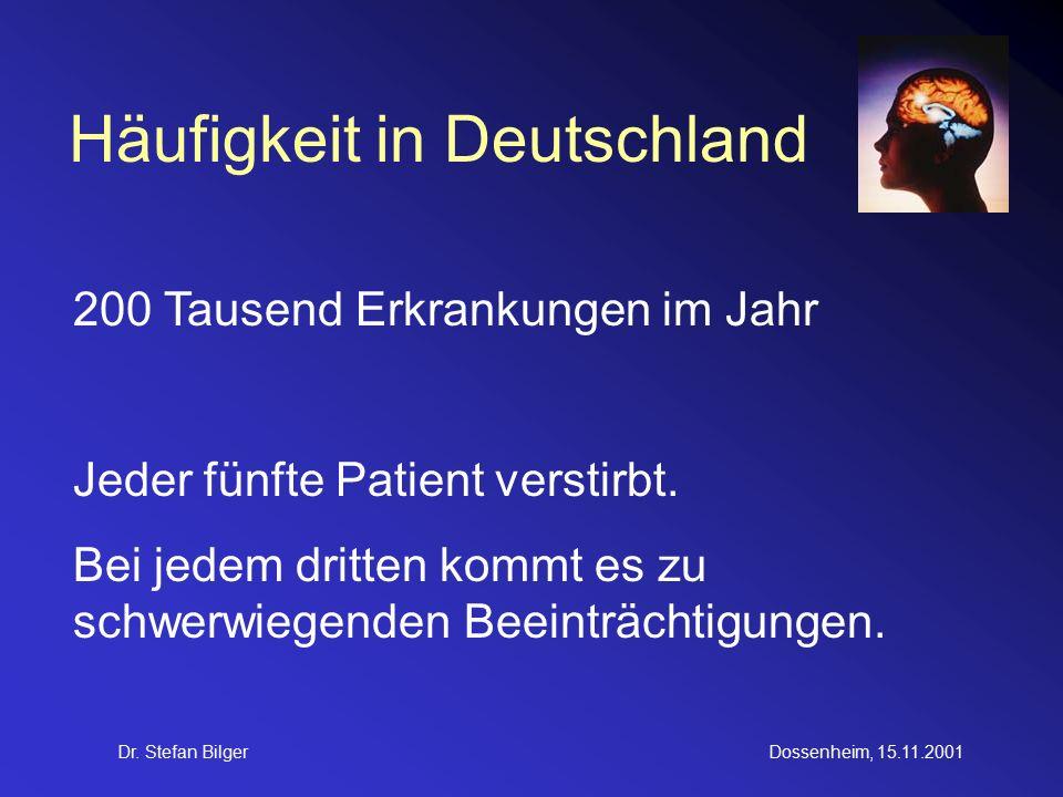 Dr. Stefan BilgerDossenheim, 15.11.2001 Häufigkeit in Deutschland 200 Tausend Erkrankungen im Jahr Jeder fünfte Patient verstirbt. Bei jedem dritten k