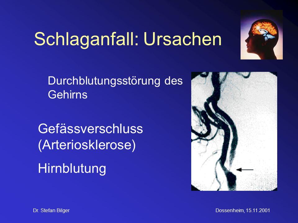 Dr. Stefan BilgerDossenheim, 15.11.2001 Schlaganfall: Ursachen Durchblutungsstörung des Gehirns Gefässverschluss (Arteriosklerose) Hirnblutung