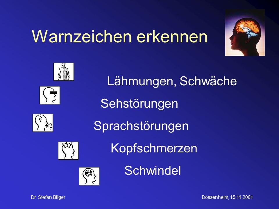 Dr. Stefan BilgerDossenheim, 15.11.2001 Warnzeichen erkennen Lähmungen, Schwäche Sehstörungen Sprachstörungen Kopfschmerzen Schwindel
